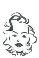 black and white caricature of marilyn monroe by stoyan lechtevski
