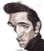 elvis presley caricature by  wen jie li