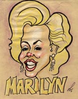celebrity caricature by matheu spraggins of marilyn monroe