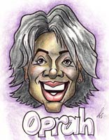 celebrity caricature by matheu spraggins of oprah winfrey