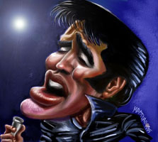 color caricature of elvis presley by rob maystead