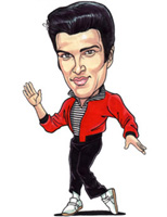 color caricature of elvis presley by roland napoli