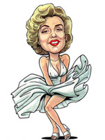 color caricature of marilyn monroe by roland napoli