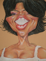 color caricature of oprah by chris neuenschwander