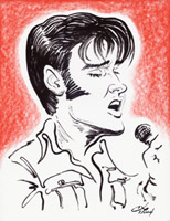elvis presley caricature by  gordon ng