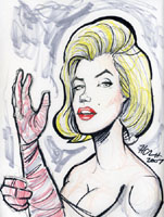 color caricature of marilyn monroe by howie noel