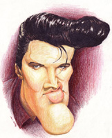elvis presley caricature by  don pinsent