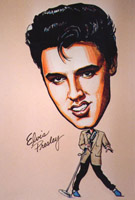 Elvis presley caricature by  Mary Rochelle