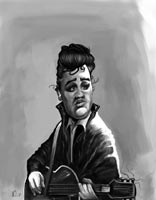 caricature of elvis presley by nelson santos