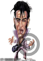 color caricature of elvis by nelson santos