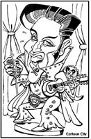 studio <p>caricature by  marc schmid of elvis presley