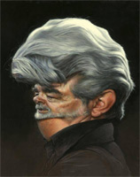 caricature of George Lucas by caricature artist Jason Seiler