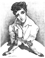elvis presley caricature by  dan smith of florida