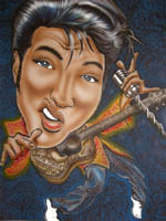 color caricature of elvis presley by robert stolt