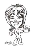 black and white caricature of oprah winfrey