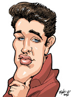 color caricature of elvis presley by tako x