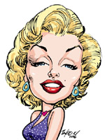 color caricature of marilyn monroe by tako x