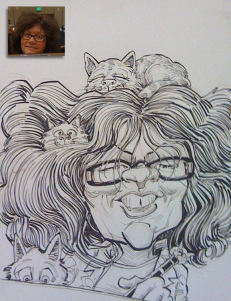 Chuck Senties Party Caricature