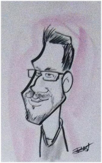 Bob East Party Caricature