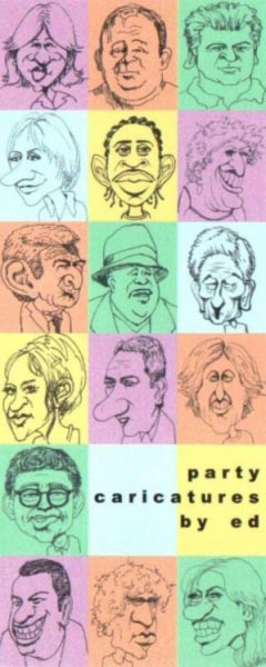 Multiple live caricatures by Ed Abernathy