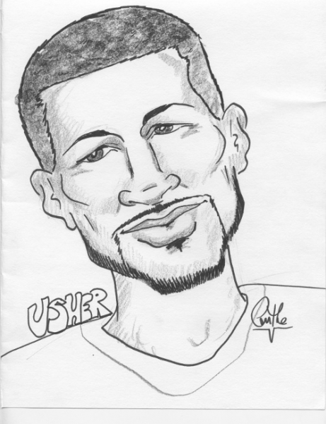 Anthe Valais Party Caricature Usher