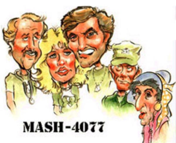Caricature of the cast of Mash by John Alex