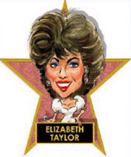 Liz Taylor caricature by John Alex