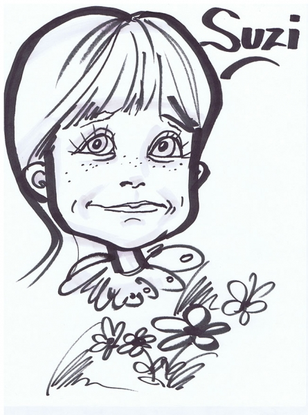 Linda Mountain Party Caricature