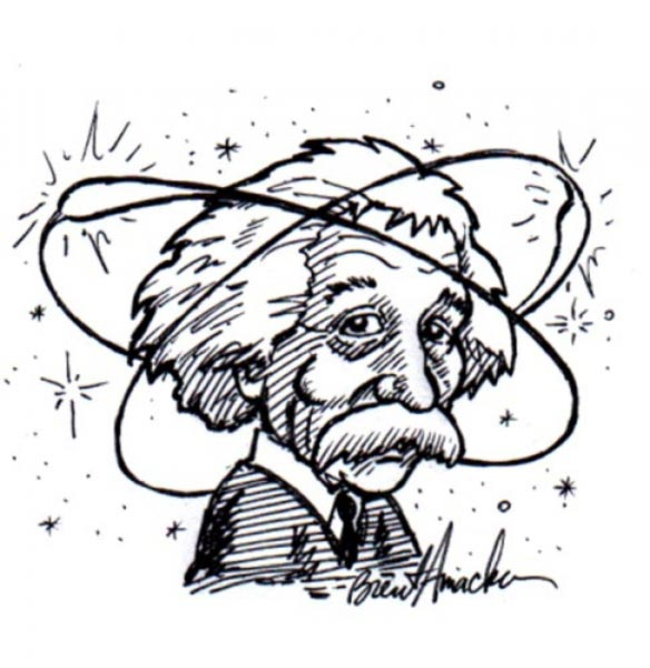 Albert Einstein caricature by Brent Amacker
