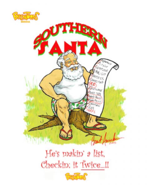 Santa caricature by Brent Amacker