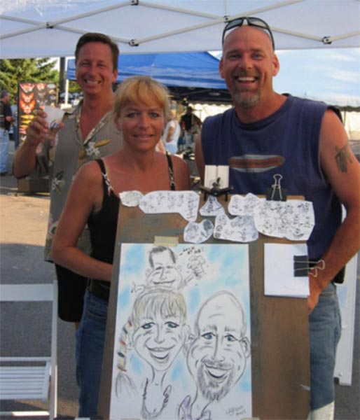 Party caricature by Bill Begos