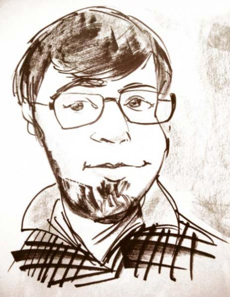 Party caricature by Carl Beu