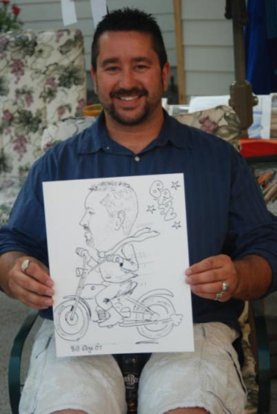 Party caricature by Bill Edge