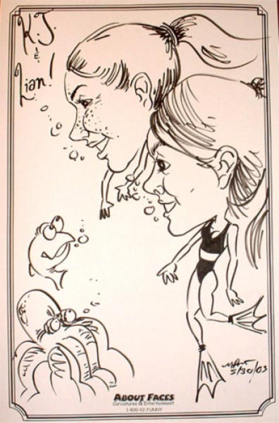Party caricature by Mike Bracco