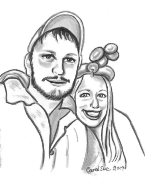 Party caricature by Carol Sue