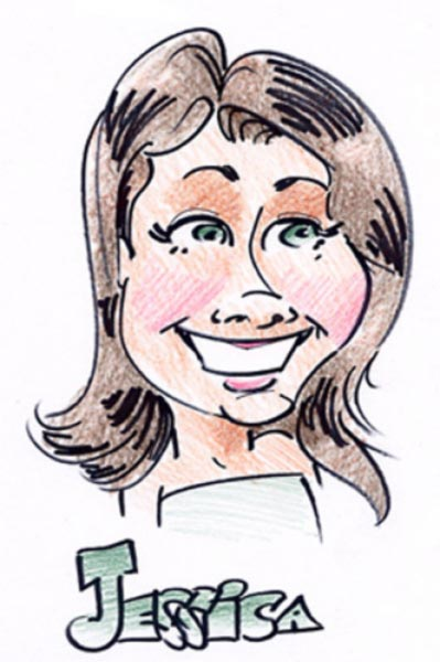 Party caricature by Andrew Chandler