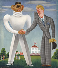 Caricature of Clark Gable and Edward Prince of Wales by Miguel Covarrubias