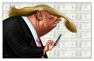 caricature of Donald Trump by caricature artist Chris Rommel