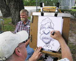 dave smith drawing a caricature of a man with a huge mustache!