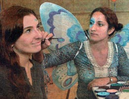face painting by crystal soveroski as a fairy with butterfly wings