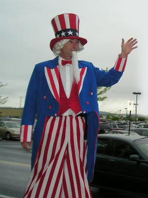 uncle sam stilt walker rob q